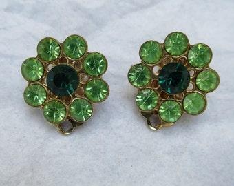 1950s Green Rhinestone Clip Earrings