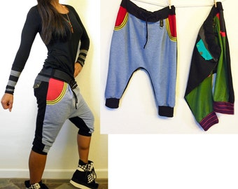 Heather Terry Denim Stripes Drop Crotch Pants