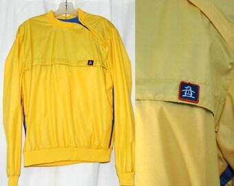 Vintage 80's MUNSINGWEAR Athletic Pullover Windbreaker, Bright Yellow, Medium, Golf or Tennis, Penguin Shirt, Unisex, Spring Summer Sports
