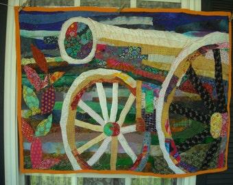 Art quilt Colorful Cannon  original art textile fabric