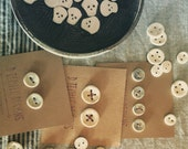 Skull Buttons - Set of 2 - Ceramic - Handmade - Rustic