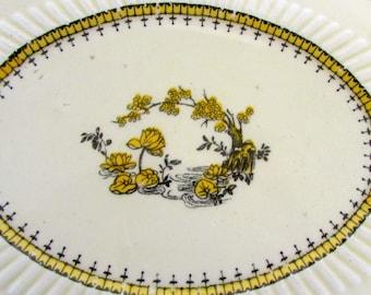 Vintage Porcelain Trivet Ridgways Lundington England royal Yellow Black White Beautiful Oval Trivet