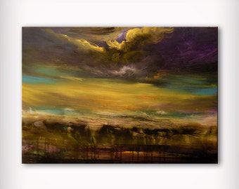 art painting acrylic abstract landscape affordable wall art wall decor large painting yellow sunset 36 x 24 Mattsart