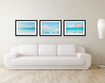 Coastal Print Set Blue Wall Decor Beachhouse Decor Set Of 3 Prints Large  Wall Art Beach