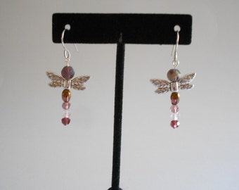 Dragonfly Earrings Purple Glass Beads Purple Dragonflies Beaded Earrings Glass Beads Earrings Dangle Earrings Pierced Earrings