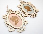 Personalized Christmas Ornament - Children's Silhouette Portrait w/ Laser Cut Wood Frame - Gift Idea