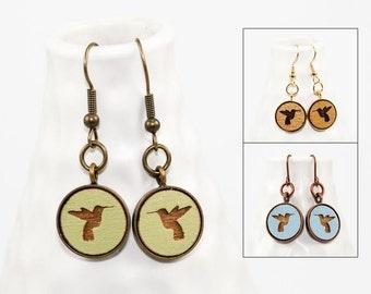 Hummingbird Dangle Earrings - Laser Engraved Wood (Choose Your Color)