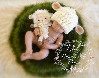 Newborn Lamb Hat and Softy Baby Lamb Hat and Teddy Newborn Photo Props