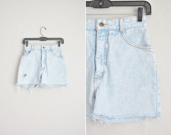 "Size 5 // LIGHT-WASHED CUTOFFS // 25"" High Waist - Light Blue - Cut-Off Shorts - Grunge - Vintage '90s Bongo."