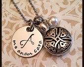 Mo Anam Cara Urn Necklace - stainless steel 1 sided disc & celtic cremation urn and chain - Swarovski crystal - custom wording available