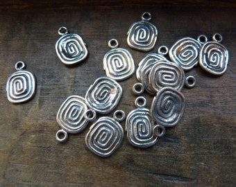 Sterling 'squared' spiral charms