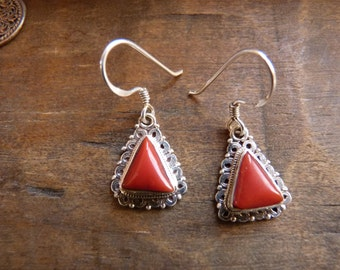 Coral and sterling triangle earrings