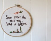 the Gardener hoop .. one of a kind, veggie embroidery hoop