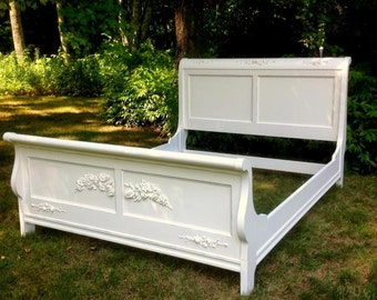 SOLD!!!  Shabby Chic Queen Size Sleigh Bed, Rose Wreaths, Rose Garlands, painted Creamy White, FREE SHIPPING