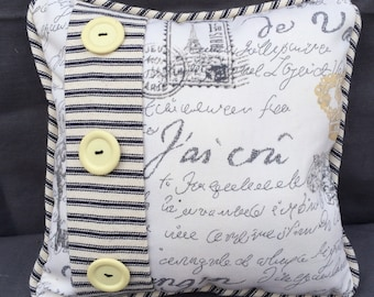French Script and Black Ticking Pillow with Vintage Buttons