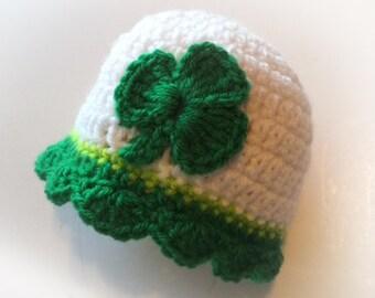 Scalloped Edge Shamrock Custom Irish Baby Girl Hat Hand Crocheted Baby Gift
