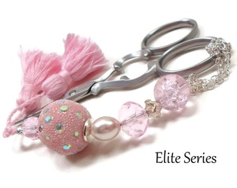 Ice Pink Scissor Fob Beaded Scissor Keeper Scissor Minder Elite Series Needlepoint Quilting Sewing Cross Stitch