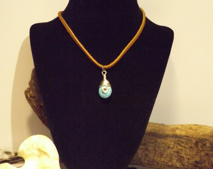 Turquois and Leather Choker, Healing Crystal and Gemstone Jewelry, Healing Jewelry, Healing Crystal and Stone, Healing Necklace