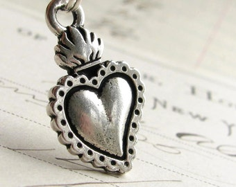 Sacred Heart necklace, silver charm necklace, milagros necklace, traditional Mexican religious jewelry, Catholic symbol, Sagrado Corazón