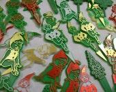 Christmas Picks, Cup Cake Picks, Elf Picks, Vintage Christmas Picks, Red Green Christmas Picks, Cake Picks