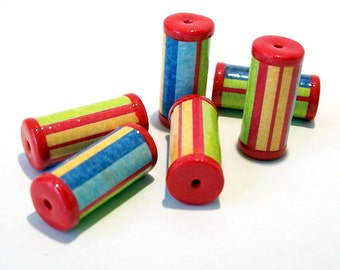 Bright Striped Tube Beads with Red Ends -  Paper and Polymer Clay