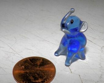 Glass Elephant Figurine, Hand Blown Glass Elephant, Vintage Collectible Blown Glass, Tiny Elephant Sculpture, Art Glass Miniature