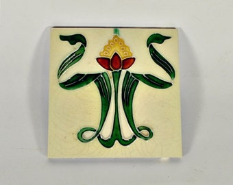Antique Art Nouveau Flower Tile