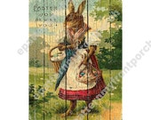 No Paint Printable DIY Vintage Easter Bunny Painting on Boards , Print and decoupage or mount to framed canvas , looks like a wood painting