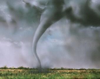 Tornado Original Painting, Storm Clouds, Twister Art, Contemporary Modern Wall Art