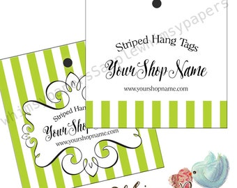 "Striped Hang Tags - 2X2"", 2.5 X 2.5"", Custom colors,  Double Sided with holes - free shipping*"