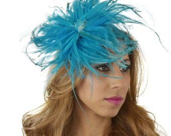 Turquoise Nikoleta Fascinator Hat for Weddings, Races, and Special Events With Headband