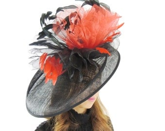 Mundhoo Black Red Fascinator Hatinator Hat for Kentucky Derby, Weddings on a Headband (20 colours available)