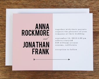 Printable Wedding Invitations - Pink Block - Pink Wedding Invitation - Instant Download - Pink and Black - Wedding Invitation Template