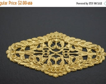 SUMMER SALE Large Raw Brass Stamping with Small Settings Wrap Stampings - 60mm x 28mm - 6 pcs