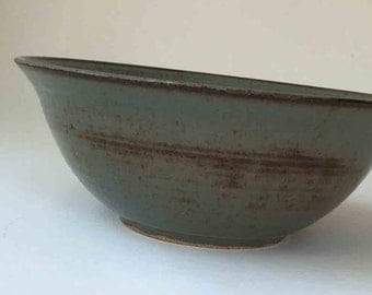 Stoneware Pottery Fruit Bowl, Handmade Brown and Blue Gray, 11 Cup Serving Bowl, Wedding Shower Gift, Birthday Gift for Her