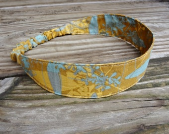 Fabric Headband with Elastic: Golden Orange and Slate Gray Branches