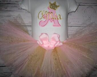 Baby girl pink and gold tutu set, princess tut set, pink and gold tutu, monogrammed tutu, personalized, cake smash