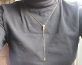 Zipper Necklace / Vintage Costume Jewelry / Gold Tone layering Necklace