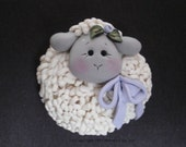 RESERVED for TERESA - Polymer Clay Easter Lamb Pin by Helen's Clay Art