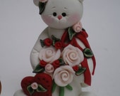RESERVED FOR TERESA Valentine Kitty Cat holding Bouquet of Roses Polymer Clay by Helen's Clay Art
