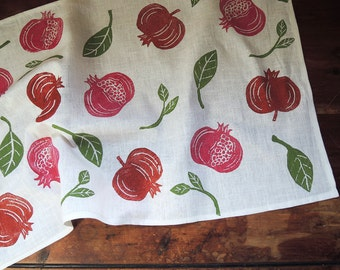Pomegranate fruit botanical hand block printed white linen tea towel