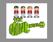 The Monkees Pixel People Character Cross Stitch PDF PATTERN ONLY