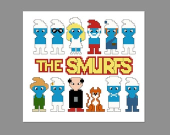 Smurfs Pixel People Character Cross Stitch PDF PATTERN ONLY