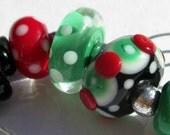 Mod Christmas Bead Set (7) Lampwork Beads -SRA