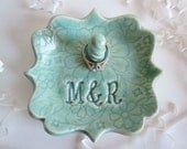 1/2 off SALE..Mr and Mrs ring holder, bride to be gift monogrammed ring dish hand made personalized ring dish