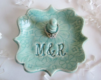ring dish, ring holder, bride to be gift, monogrammed ring dish, hand made personalized ring dish