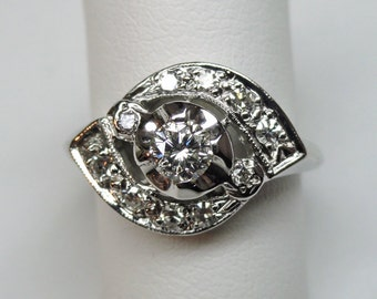 1950's Vintage Diamond Engagement Ring, Delicate Bypass style with Pave Set Sections (A1722)