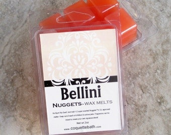 Bellini Wax melts, Nuggets, strong paraffin wax tarts, peachy scented wax melts