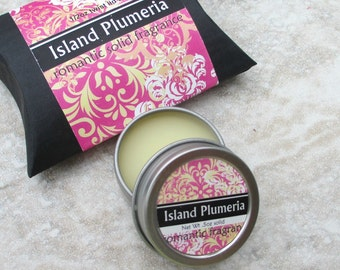 Island Plumeria Solid Perfume, Natural perfume, purse friendly screw top tin, floral scented perfume, frangipani