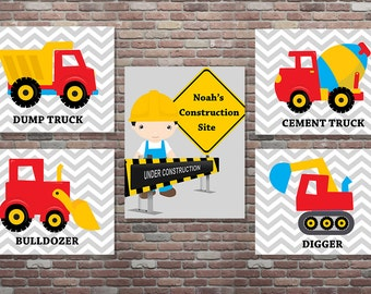Construction Wall Art,Personalized Construction Set,DIY Printable,Construction Truck Wall Art,YOU PRINT,Construction Nursery Decor